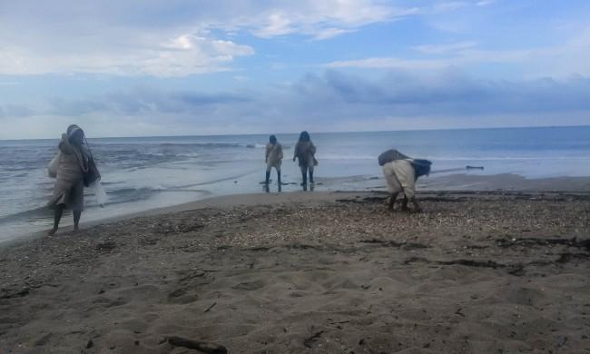 Des Kogis ramassent des coquillages pour leur totorro - Crédit: Emmanuel Haddad